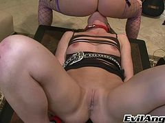 Athletic doll with hot ass gets tortured and her pussy licked before being overfeed with sex toys in a femdom sex game indoors