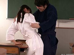 Rimu Sasahara is supposed to be taught a karate lesson with her teacher but gets a fingering and pounded in her shaved pussy hardcore in orgasm.