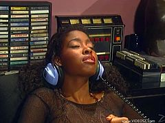 Exotic ebony gets cozy after listening to a radio and fills her mouth with a hard massive dick before getting its taste inside her
