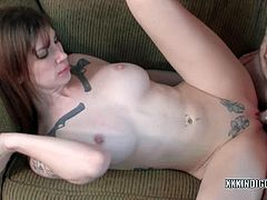Tattoo covered slut Indigo Augustine is getting pounded by a guy she just met. She blows his meaty cock and takes it deep in her tight shaved pussy like a pro.