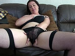 Nothing's sweeter than an experienced mature with a sexy body. Talking about one, here we have Janey, a brunette lady that saw a lot of cocks and still needs more. She's masturbating and looks fucking gorgeous with those big breasts and voluptuous thighs, burning with desire for cock and semen between them.