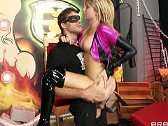 Amazing teen cowgirl in leather high heels giving a superb blowjob then yells as she gets a rim job before he drills her shaved pussy hardcore