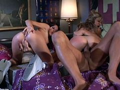 The amazing babes Roxy Jezel and Taylor Rain get a nasty facial after getting their pussies and assholes drilled in this hot threesome.