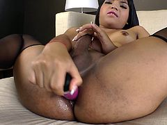 Witness this clip where an Asian shemale, with a nice ass wearing nylon stockings, touches herself and plays with a wicked toy until she cums.