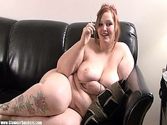 The horny BBW Milla will get you really horny as you watch her yummy chubby body lying naked on the couch while she grabs a smoke.