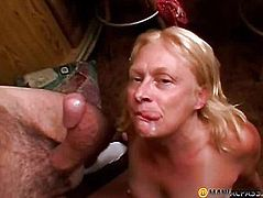 The old woman swallows sperm her man