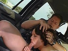 Slim brunette cutie Taylor Rain, wearing a bikini, lets a guy finger her pussy in a car. After that they have anal sex in the reverse cowgirl pose and also bang doggy style.