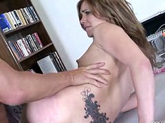 Babe In Miniskirt Gives Blowjob Then Fucked And Swallows Cum