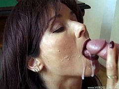 Take a look at this hot scene where the horny milf Catherine Count sucks on a big cock before taking off her clothes and being fucked.