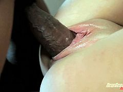 Check out this interracial scene where Hailey Holiday has her tight pink pussy stretched out by a black monster cock as her man watches.