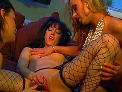 Horny lesbians Amy Lee, Hellizabeth and Juicy Pearl are getting naughty after a party. The chicks strip and fondle each other, then finger each other's cunts and fuck them with a dildo.