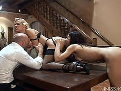 These two babes shed their lingerie, but leave their lingerie on as they treat this guy to a red hot, hardcore FFM threesome he won't forget.