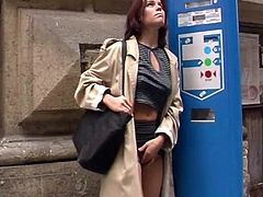 Sizzling Brunette With Big Beautiful Tits Playing With Her Pussy In Public