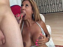 Marvelous cougar with natural tits swallows a heavy dick easily before giving her guy a super titjob till she gets a facial cumshot