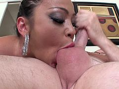 This crazy cougar throats a guy's cock and gives him a blowjob then she lets him give her a facial while she tries to swallow his load.
