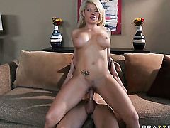 Brooke Haven with juicy tits is too horny to resist Johnny Sinss throbbing love wand