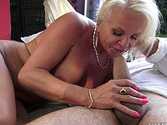 Horny cougar with big tits in white panties enjoys her pussy being licked before getting worked on hardcore in a matured sex