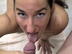 Charming girl with natural tits gives her guy a superb blowjob till the he cums in her mouth before masturbating immensely in a POV shoot