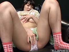 Press play on this solo scene where the horny Asian babe Rino Yoshihara plays with her nipples and masturbates with sex toys as you hear her moan.