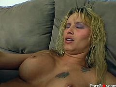 Slender blonde Barbie Baja gets her pussy drilled hard