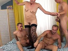 Dirty and insatiable old hoe gets attacked by several young kinky freaks