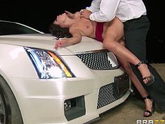 Ava is a sexy dirty slut who wants to have some revenge. She gets in her car and drives until a parking spot where she meets with her partner. She takes her baseball bat in order to make him suffer, but instead he grabs her really rough, removes her skirt, bends her over the car and fucks her really hard. This hot bitch seems to enjoy rough sex.