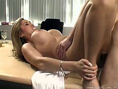 Cock sucking Asian with fake tits gets bonked on the office table after ball licking, fingering, blowjob and sweet cunnilingus