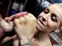 Stevie Shae is horny as hell and gives tugjob with wild enthusiasm