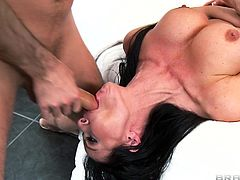 Gorgeous brunette MILF aroused as he sucks her big tits then fondles them as she gets drilled before giving a blowjob then they fuck doggy style