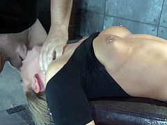 Scenes of severe bondage and other bdsm activities wouldn´t be complete without the presence of slutty helpless babes who obey blindly to any request might cross the executor´s sick mind. Her back resting on a chair and the legs barely hitting the ground, a blonde bitch is persuaded to suck cock. Click!