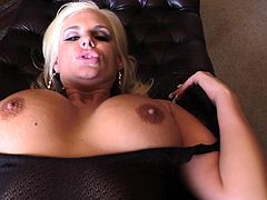 Blonde with Fake Tits and in Stockings Blowjobs a Big Black Cock before her Anal is Drilled hard in a Doggy style POV shot