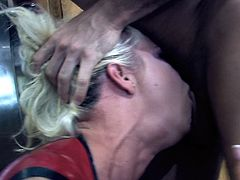 Horny blonde in leather top gets a deepthroat feasting before enjoying her juicy pussy worked on hardcore till she gets a facial cumshot
