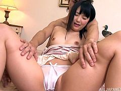 Asian Cowgirl with Small Tits in Bra gets her pussy licked as she gives out a cute double Blowjob then her Hot Ass pinned Doggystyle in a MMF Threesome
