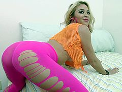 Wonderful blonde with natural tits in pantyhose displays her hot ass before masturbating with a vibrator and getting her anal logged hardcore with a python