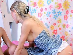 If you like the combination between horny teens and blonde lesbians, click to get the delightful sight of sweet Natasha and her friend while playing dirty in bed with the lights open. Both have incredible slim bodies and small tits and adore kissing passionately. Wanna watch amazing rimjob scenes? Click!