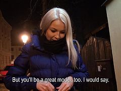 A slutty babe walking alone on the street at a late hour is an easy prey. The blonde babe in the video is slowly persuaded to uncover her tits for money. It seems as it was worth it. She´s got nice tits and ass. Click to watch what happens later, when they get in a more private place!
