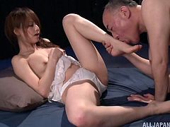 Admirable Japanese girl Akiho Yoshizaw allows an older man to eat her pussy. After that they enjoy sex in the missionary pose and doggy style.