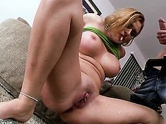 Blonde Krissy Lynn having oral fun with hard dicked fuck buddy