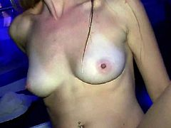 Marvelous cowgirl with natural tits gets cozy with a chick and kisses her then gives her dude a superb blowjob in a party