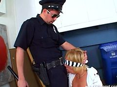 Kinky blonde chick, wearing a miniskirt, is playing dirty games with a police man behind the corner. She allows the dude to drive his wang in her mouth and begins to suck and deepthroat it.