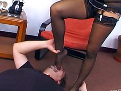Chick with natural tits and hot ass in stockings and lingerie enjoys foot fetish session then gives blowjob and handjob and takes cumshot on feet