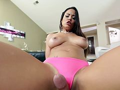 Skinny Dame With Natural Tits Giving A Cock A Handjob