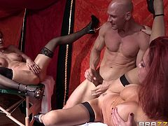 Take a look at this great hardcore scene where these sexy ladies are fucked by this guy's thick cock in a threesome that leaves them out of breath.