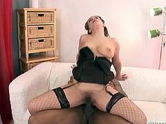 Get a load of this hardcore interracial scene where this horny milf sucks on this guy's big black cock before he pounds her bush until she ends up covered by cum.