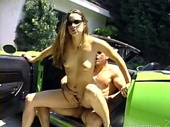 Brown-haired bitch Cheyenne Silver, wearing a bikini, is having fun with a guy outdoors. She favours the man with a blowjob, then they have rear banging and fuck in the reverse cowgirl pose.