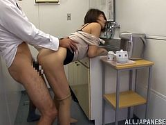 Beautiful Japanese maiden with sexy thighs enjoys her pussy being licked before getting hammered hardcore missionary in the kitchen