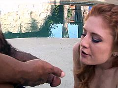 Depraved redhead chick Charlie Fire takes her miniskirt off and shows her butt to a black guy. After that she lets the man drive his BBC in her shaved coochie and fuck it in many poses.