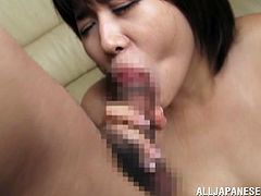 Naughty Japanese Milf with Small Tits is seduced by her lover she does a cute Blowjob before she sucks a hard rock cock until her lover cum in her mouth