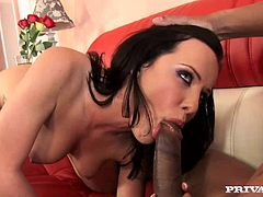 Have a look at this hardcore scene where the beautiful brunette Katie St. Ives sucks on a big black cock before being fucked silly by a guy.