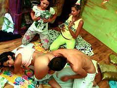 Cute teen Kiki sucks her man's cock at her birthday party. She really knows how to give a good blowjob. He kisses her butt and fingers her from behind. All the while Kiki's friends are watching the action and hoping they could join in.